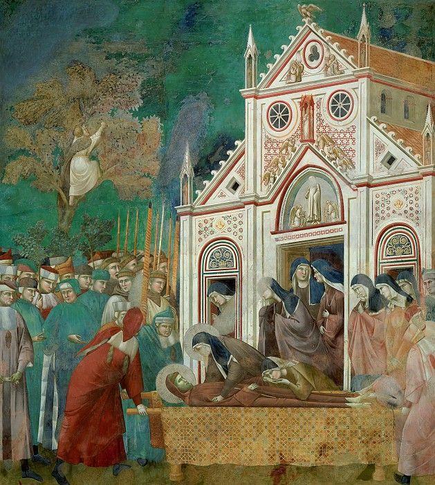 Сцены из жизни святого Франциска:  Оплакивание Святого Франциска Саятой Кларой. Джотто ди Бондоне  Фрески Верхней церкви Сан-Франческо в Ассизи (1290-1300)