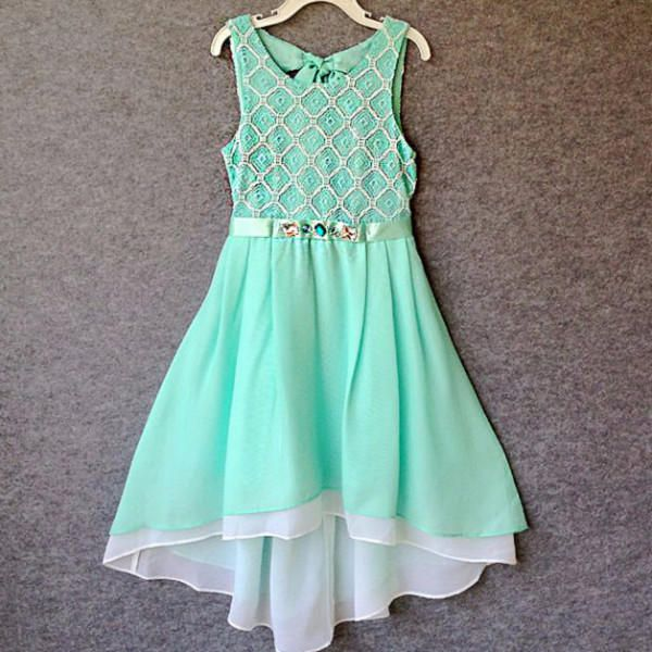 "The ""Nicole"" Girls & Tween Mint Chiffon High Lo Party Dress from Angora Boutique. Saved to Dresses I love."