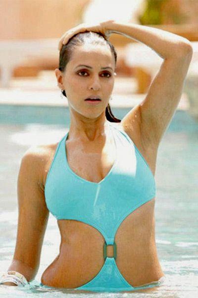 Neha Dhupia in hot blue monokini | INDIAN Celebrity ...