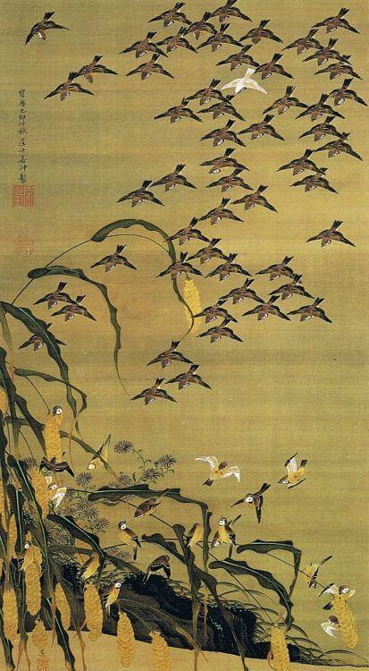 Jakuchu Ito, Japan 秋塘群雀図