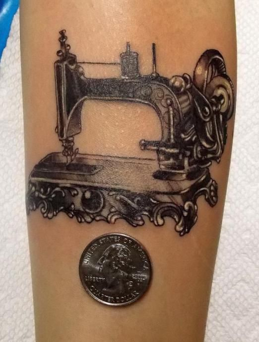 Sewing machine tattoo by Gerald Feliciano #InkedMagazine