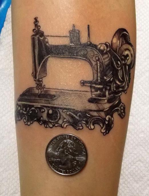 Sewing machine tattoo by Gerald Feliciano #InkedMagazine
