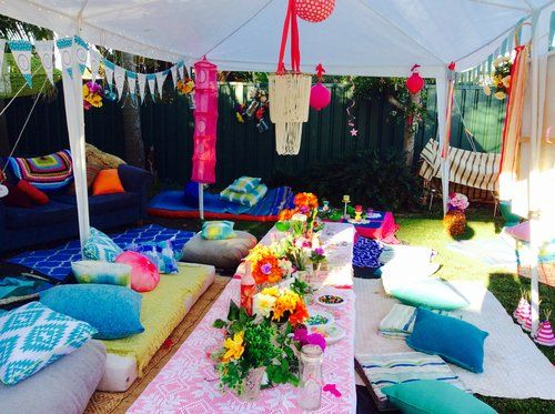 We set up this party for lovely Mia who was turning 13. She wanted a bright boho theme. We were able to transform her families backyard into a cool chill out/party area for Mia and her friends. Very happy with the result!