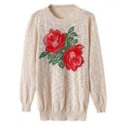 $13.31 Casual Style Round Neck Elastic Floral Embroidery Long Sleeve Sweater For Women