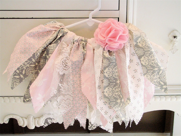 Pink Gray Fabric Tutu with Flower Clip. $26.00, via Etsy.