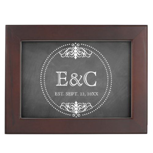 Vintage Chalkboard Wedding Keepsake Box
