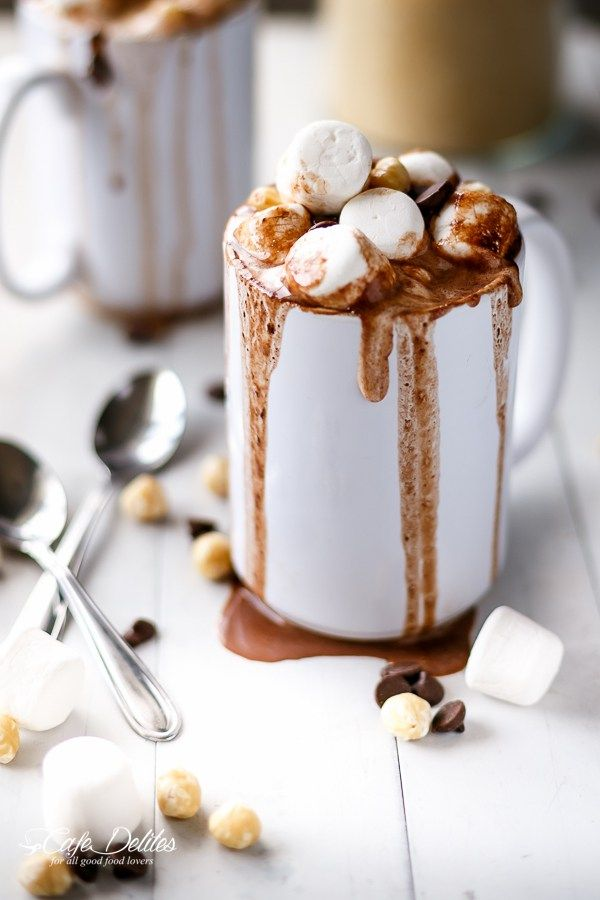 Ordinary hot cocoa gets an extra chocolatey kick. Top with marshmallows, crushed hazelnuts, chocolate chips, and a drizzle of Nutella. Get the recipe at Cafe Delites.