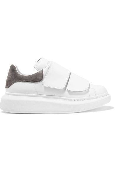 Alexander McQueen - Suede-trimmed Leather Exaggerated-sole Sneakers - White