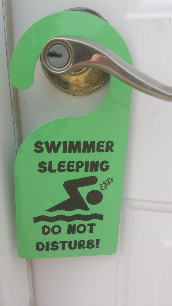 Swimmer sleeping swim  Door Hanger Swim Party by FlipTurnTags