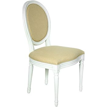 silla  Madera Blanco Decape C/tela Beige (haya+lino)  51x47x93cm