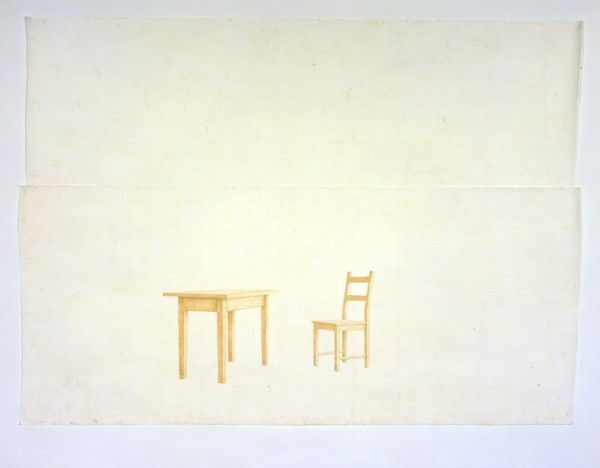Toba Khedoori - Untitled (Table & Chairs), 1999, Oil and wax on paper, 469.9 x 350.5cm