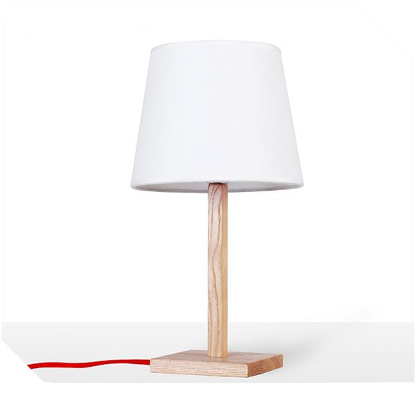 Simple wood table lamp with white shade, size: 210*210*380