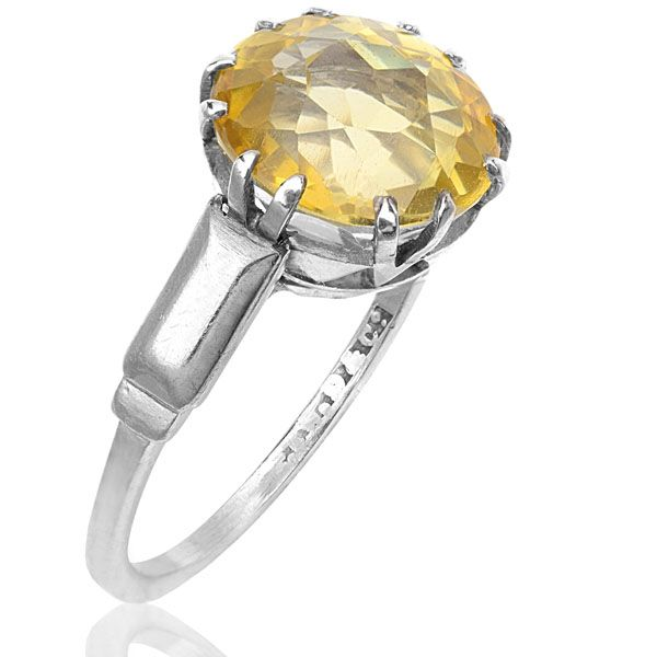 Fabulous Yellow Sapphire Art Deco Ring set in Platinum