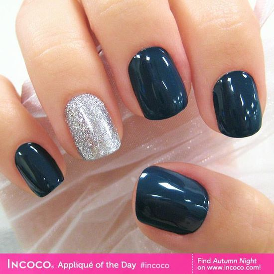 Simple navy and silver sparkle nails for | http://my-beautiful-nails-ideas.blogspot.com