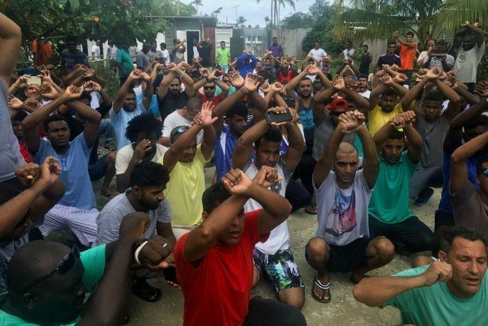 Detainees inside Manus Island processing centre