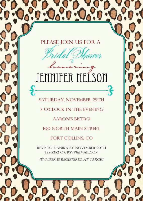 54 best leopard bridal shower images on pinterest leopard prints bridal shower invitations colorful leopard print by katiedidesigns 1300 filmwisefo Image collections