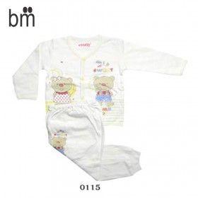 Kode : 0115 Harga : Rp. 41.000 Merk : Costly L,Baju Kancing Depan Panjang+Celana Panjang Rib Size : Size L u/ usia 1-2 Tahun