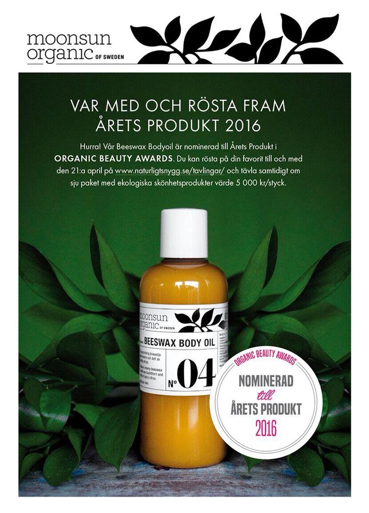 Vi är så glada att våran Beeswaxbodyoil är en av de nominerade som årets produkt av Organic Beauty Awards. Årets Produkt är kanske det mest prestigefyllda priset då det är konsumenterna som avgör vilken som vinner.  Vi skulle vara så tacksamma om du vill lägga en röst för denna produkt hämtad från moder jords fantastiska skafferi. Idag öppnar http://www.naturligtsnygg.se/tavlingar/ en