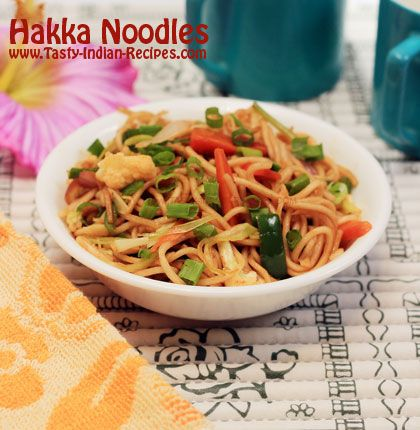 Hakka Noodles Recipe is one of the most famous Indo-Chinese recipe in India.  Hakka Noodles are made from plain boiled noodles, stir fried with sauces and vegetables
