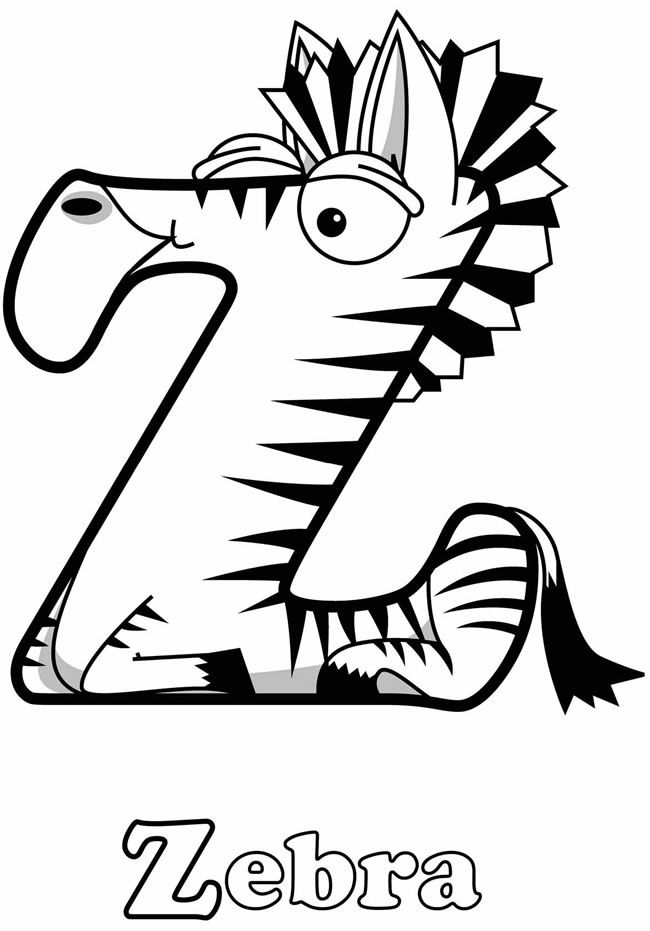 Z Is For Zebra Coloring Page Dover