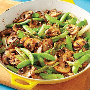 Sugar Snap Pea and Mushroom Sauté | MyRecipes.com