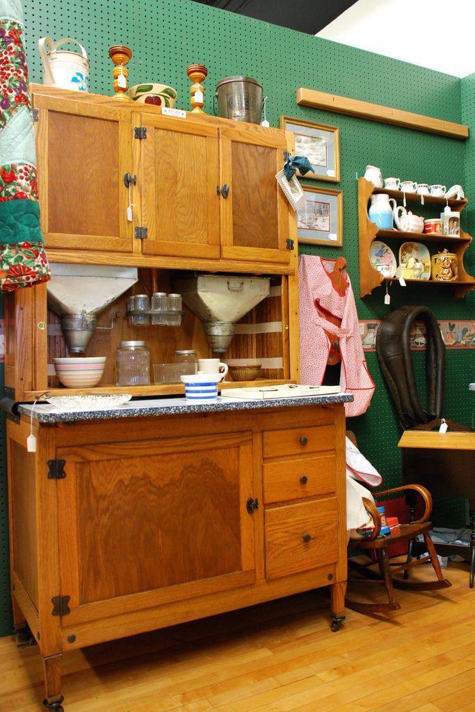 Once a cutting edge kitchen accessory, these antique Hoosier cabinets, many of which were made in nearby New Castle, are now very collectible.