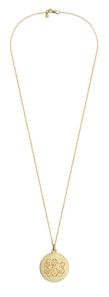 Gold monogram disc necklace. Santa please remember this necklace.