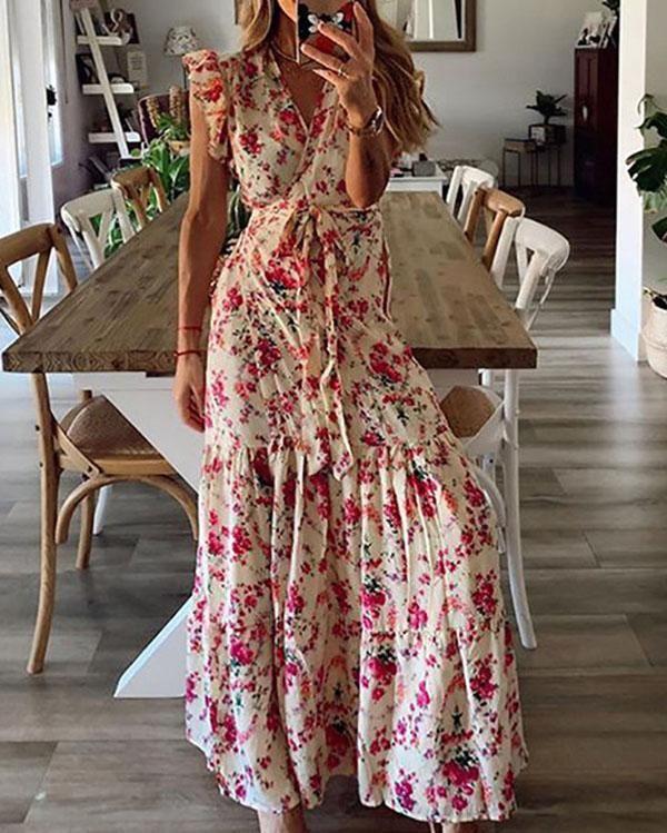 BOHO Women Long Sleeve Floral Maxi Dress Ladies Holiday Long Swing Slit Dress UK
