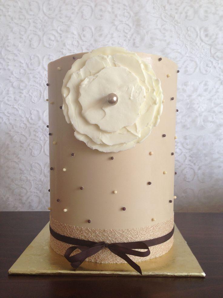 Vintage look wedding cake. Mocha coloured chocolate collar & white chocolate flower.