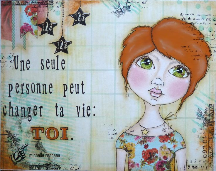 Wood And Fabric: The end of one, the beginning of another ...(cute short hair here...which one doesn't see often on whimsical art journal pages)