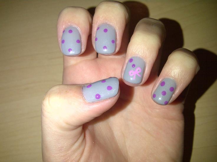 Grey with purple polka dots