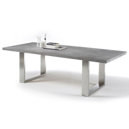 Savona Rectangular Dining Table In Grey With Stainless Steel Legs Finish: wood Grey finish sealed (stone look) Features:•Savona Rectangular Dining Table In Grey With Stainless Steel Legs•...