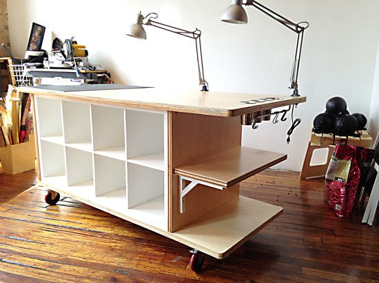 photo 1 Ikea hack using 2 Kallax shelving units, heavy duty casters and doubled up sheets of 3/4 inch grade plywood