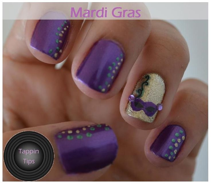 Mardi Gras Finger Nail Designs