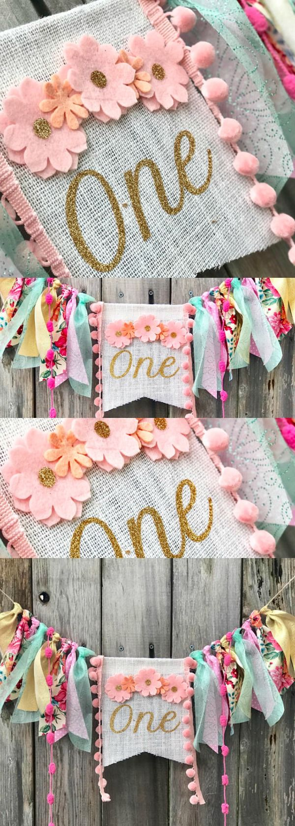 First Birthday High Chair Banner. Boho 1st Birthday. Girl's First Birthday Decor. Adorable Felt Flower Birthday Banner. This is so cute! #boho #bohostyle #banners #1stbirthday #birthdayparty #party #partydecor #partydecorations #etsyfinds #affiliatelink