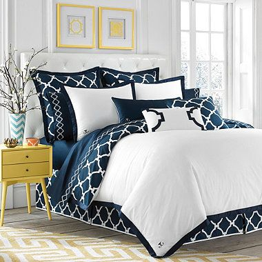 Jill Rosenwald Hampton Links Duvet Cover in Navy/White - BedBathandBeyond.com- I'm obsessed with the quatrefoil pattern!