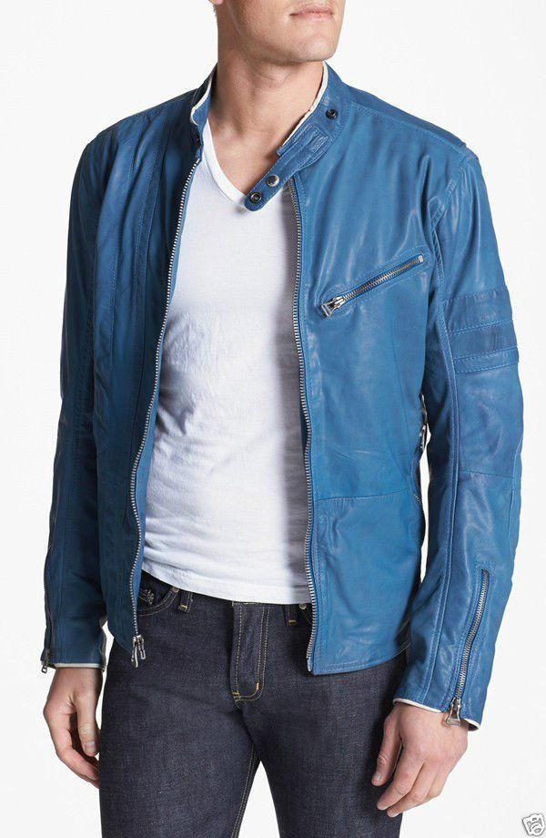 Blue Leather Jacket For Men Fashion Leather Jacket It Is Most Stylish Jacket Of
