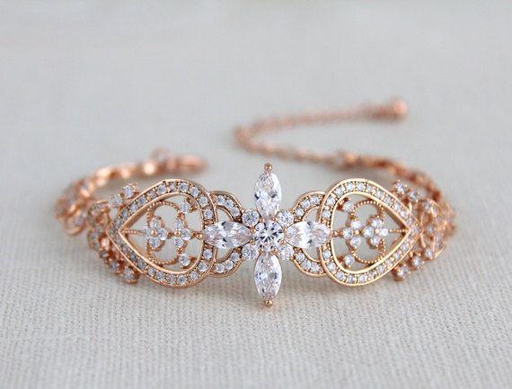 Rose gold Bridal bracelet Crystal Wedding bracelet by treasures570