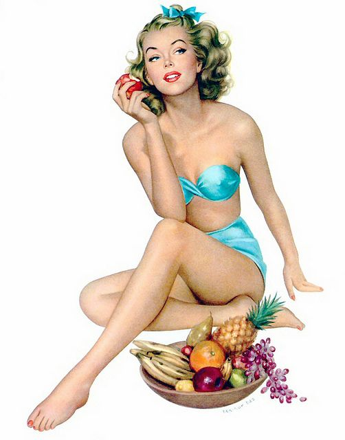 A pinup girl a day keeps the doctor away! :) #vintage #pinup #art #fruit #swimsuit