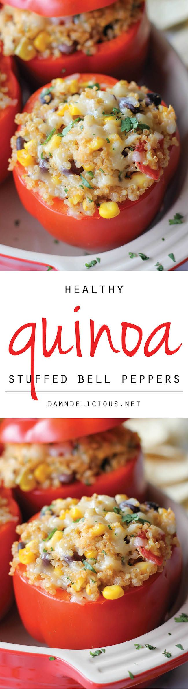 Quinoa Stuffed Bell Peppers. Use fresh onions -no powder No cilantro Parmesan -no jack No tomatos Sriracha - just a little