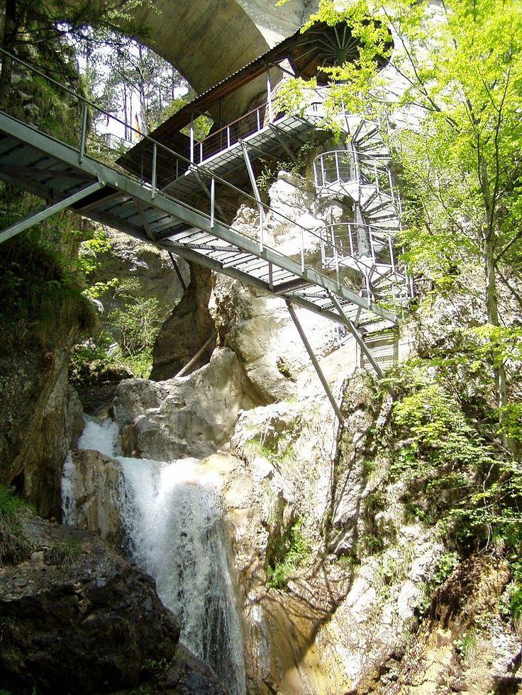 Tscheppaschlucht ...Spiral staircase to the Devil's Bridge at Tscheppa Ravine near Ferlach, Carinthia, Austria - photo by Griensteidl, via Wikipedia