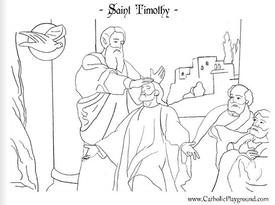 Saint Timothy Catholic coloring page. Feast day is in January. (online sources vary, stating either the 22nd, 24th, or 26th of January)