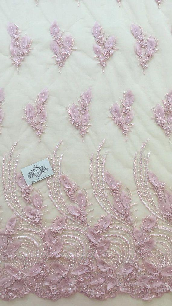Rosa de tela de encaje 3D color hecho a mano de lujo perlas