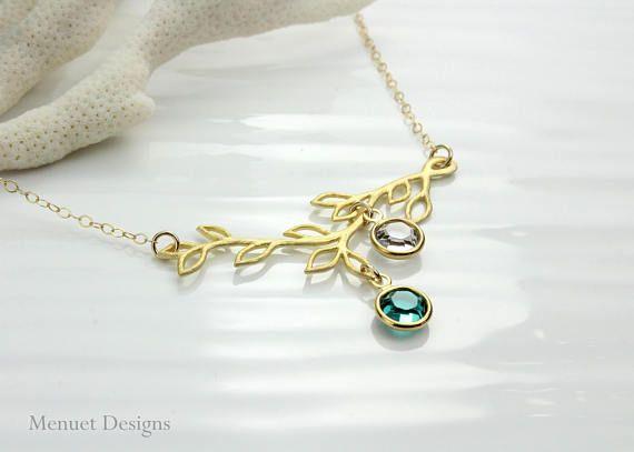 Custom Family Tree Birthstone Necklace, Personalized Birthstone Branch Necklace, Gold Branch Charm, Custom Birthstone Jewelry for Grandma