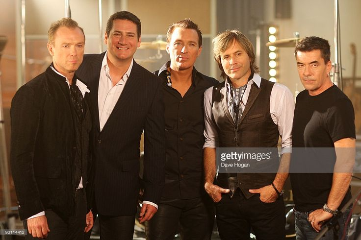 L-R Gary Kemp, Tony Hadley, Martin Kemp, Steve Norman and John Keeble of Spandau Ballet film the video for their new single Once More on October 7, 2009 in London, England.