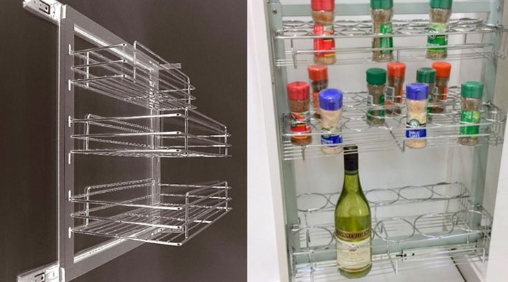 Spice pull-outs from Franci Furniture Fittings, a must in every kitchen. The 150mm and 300mm, three tier spice pull-outs are side mounted. Our newly designed spice bottle rack is centre mounted.