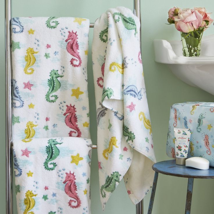Create a splash in your bathroom design with this Seahorses towel from Cath Kidston. Patterned with multicoloured seahorses and stars, this towel is decadently soft to the touch and a full towelling r
