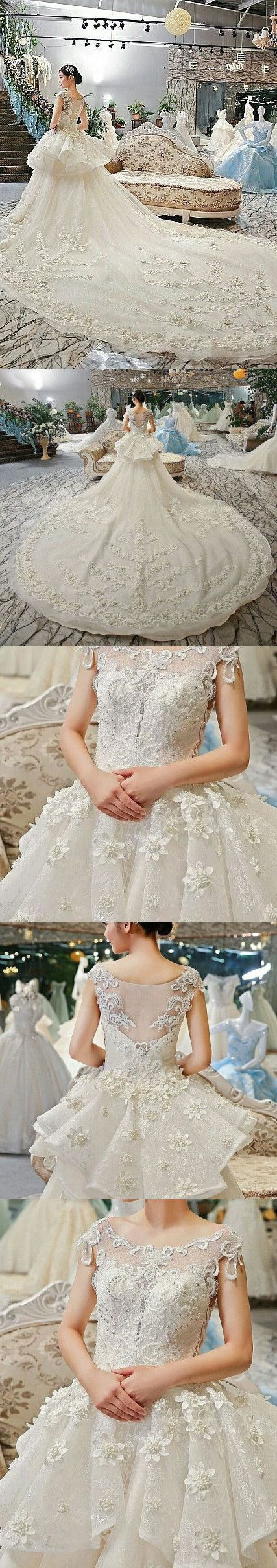 A-line Bateau Cathedral Train Tulle Lace Appliqued Beaded Long Elegant Wedding Dresses 2817#weddingdresses #bridaldresses #romantic #princess #appliques #beadings #uinque #bohoprom