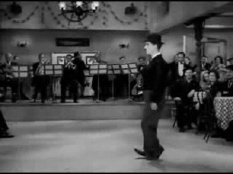"Charlie Chaplin's fabled song and dance in the film, ""Modern Times""."