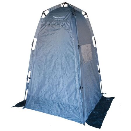 Ezygonow GO anywhere Privacy Shelter | Portable and spacious and is ideal for a bathroom, change room or shower area. Built-in snap poles and hinges, 3 screened windows with privacy flaps, upper sealable access flap for a shower/light attachment, built-in ground flaps and many more features! #outdoors #privacytent #popuptent #campingtoilettent #campingtoiletroom #compact #showertent